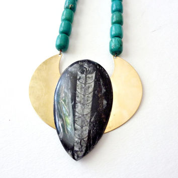 Statement Necklace. Orthoceras and Turquoise Stone Nuggets. The Winged Scarab. Mothers Day Sale Save 20%