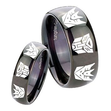His Hers Transformers Autobot Decepticon Dome Black Tungsten Mens Wedding Ring Set