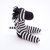 Zebra Sock Toy - Stuffed Animal Doll, Small Personalized Gift for Baby or Kid, Soft and Handmade