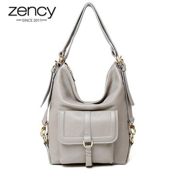 Zency Brand Hot Sale Fashion Ladies Hobos Classic Women Handbag 100% Genuine Leather Large Capacity Shoulder Bag Casual Simple