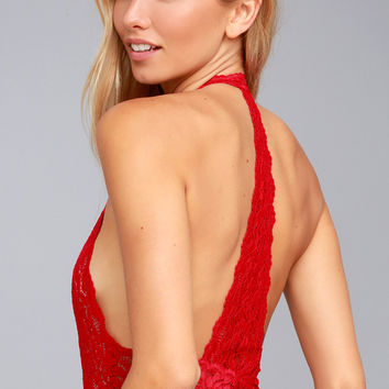 Free People Avery Red Lace Bodysuit