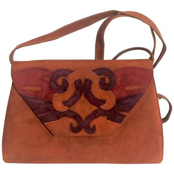 Vintage Bally brown, red, and purple suede leather ethnic design shoulder bag, clutch purse.
