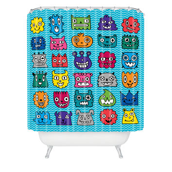Andi Bird Monster Mash Blue Shower Curtain