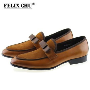 Handmade Genuine Leather And Suede Leather Formal Shoes With Bow Tie Men Wedding Party Dress Shoes Men's Banquet Loafers