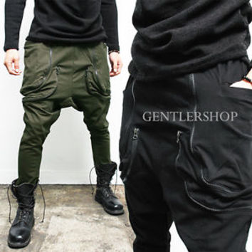 Avant-Garde Mens Harem Double Zippered Pocket Baggy Sweatpants, GENTLERSHOP