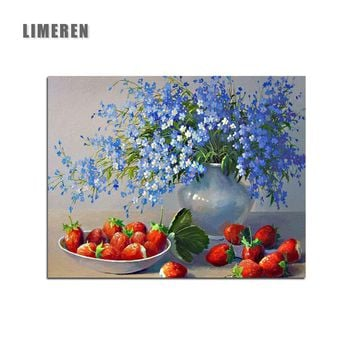 Gypsophila Babysbreath Flowers Strawberry Drawing By Hand Oil Canvas Painting By Numbers For Living Room Wall Art