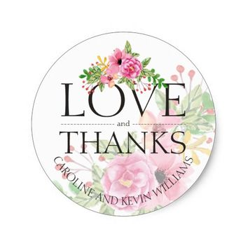 Elegant Floral Thank You Stickers