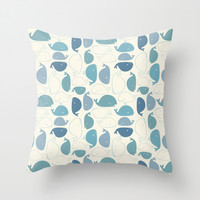 Whales pattern Throw Pillow by Khandisha