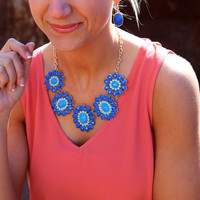 Aqua + Royal Cluster Necklace
