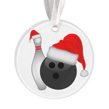 Christmas Bowling Ball and Pin Ornament