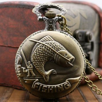 Classical Bronze Fishing Angling Cute Fish Retro Quartz Pocket Watch Gifts for Men Women Vintage Fob Chain Necklace