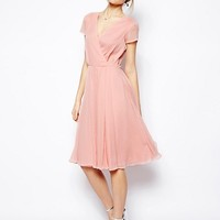 ASOS Wrap Dress In Midi Length at asos.com