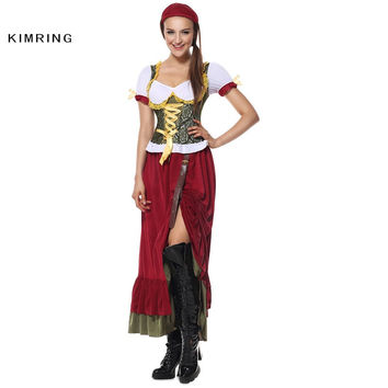 KIMRING RENAISSANCE WENCH COSTUME GERMAN OKTOBERFEST COSTUME FANCY DRESS BAVARIAN BEER HALLOWEEN CARNIVAL PARTY WOMEN COSPLAY
