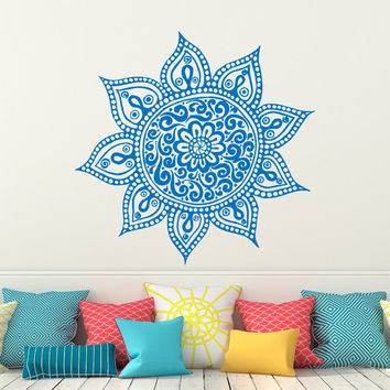 Wall Decal Mandala Vinyl Sticker Lotus Flower Yoga Wall Decals Indian Decor Bedroom Yoga Studio Boho Moroccan Bohemian Bedding Wall Art C122