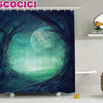 Fairy Shower Curtain Gothic Decor Misty Horror Illustration of Autumn Valley with Woods Spooky Tree And Full Moon Scene Fabric B