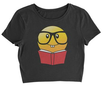 Emoticon Book Nerd with Glasses Cropped T-Shirt