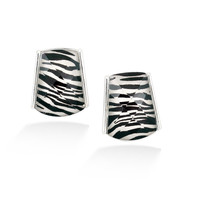 Fashion Silver-Tone Zebra Print Earrings