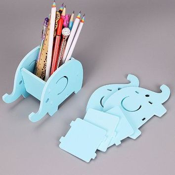 Wooden Plastic Cute Elephant Phone Rack Multifunction Mobile Tray Desk Organizer Dual Use Pen Holder Office Stationer