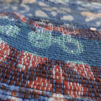 Hand Block Print Rag Rug, Hand Loomed Fabric, Multi Color Bohemian Rug, Yoga Mat, Large Carpet, Reversible, Handmade by Artisans of India