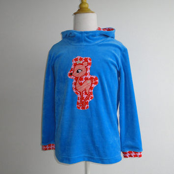 Deer Hoodie Girls Children Clothing Blue and Pink 7 Yr. Ready to ship European Farbenmix