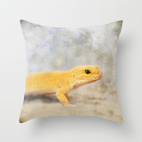 Portrait of a Leopard Gecko Throw Pillow by Christine Hall