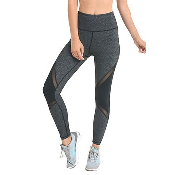 Grey Slanted Colorblock Mesh Contrast Leggings