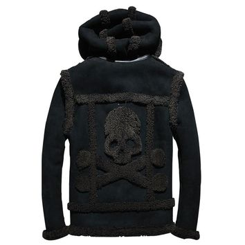 Genuine MAXMACCONE men skull pattern jacket plus size thick Russian shearling coat