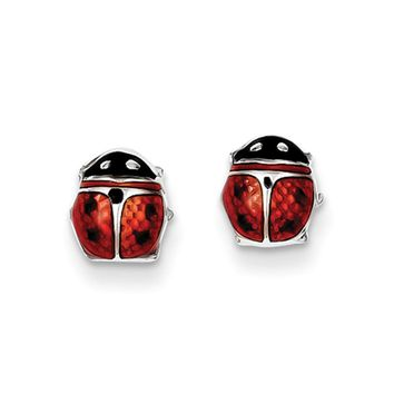 7mm Red Ladybug Post Earrings in Sterling Silver and Enamel