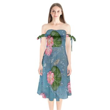 Water Lillies Shoulder Tie Bardot Midi Dress