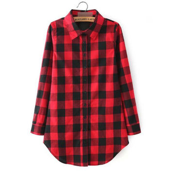 Women Blouses Brand Quality Cotton Blouse Women Shirts Casual Plaid Shirts Long Girls Shirts Loose Blusas Tops Plus Size