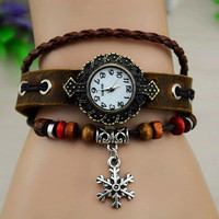 Vintage Style Leather Belt Watch with Snow Flake Pendant
