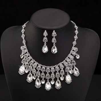 Big star rhinestone Earrings and necklace hair jewelry sets bridal party hair accessories crystal Ornaments