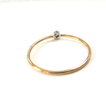 Tiny diamond ring, platinum and gold ring, delicate gold ring, tiny ring, enagagement ring,promise ring, handmade, platinum,14k gold jewelry