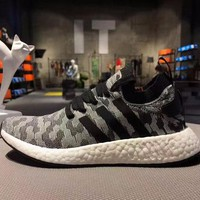 Best Online Sale Adidas NMD R2 Primeknit Black 1 Boost Sport Running Shoes Classic Casual Shoes Sneakers