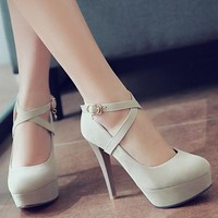 Streetstyle  Casual Beige Round Toe Stiletto Buckle Casual High-Heeled Shoes