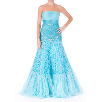 Sue Wong Womens Embellished Strapless Formal Dress