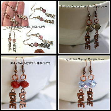 Crystal and  Love Charm Earrings - Lavendar and Copper charm - Handmade Valentines Jewelry