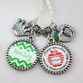 Teachers Gifts,Chevron Necklace, Green Chevron, RED Apple ,inspired teacher gifts,Keychains for teacher