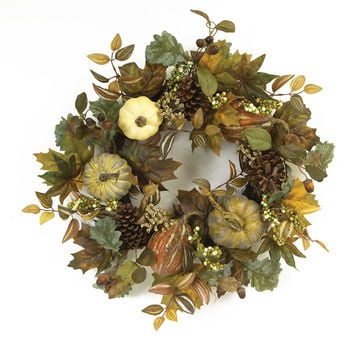 Falling Leaves Collection Fall Leaves Wreath w/Pumpkins