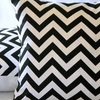 Throw Pillow cover Black and white Chevron 18 X 18
