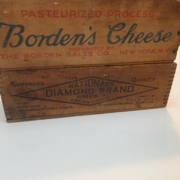 Wooden Cheese Boxes - Bordens Cheese, National Diamond Brand Pimento Cream Cheese, Set of 2, 5lb Cheese, window sill planter, Rustic Boxes
