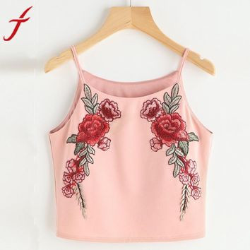 Women Embroidery Tank Top 2017 Summer Short Halter Top camisole Sexy off shoulder halter crop top backless women tops party cami