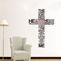 The Lord is my Shepherd Cross Bible Verse Sticker Vinyl Wall Decal Home Decor