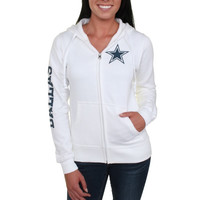 Dallas Cowboys Women's Stand Up Full Zip Hoodie - White