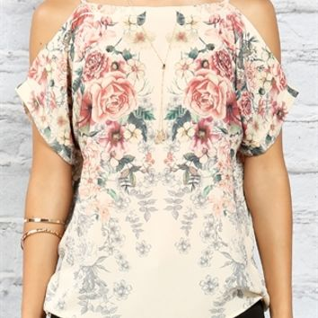 Floral Open-Shoulder Casual Tunic