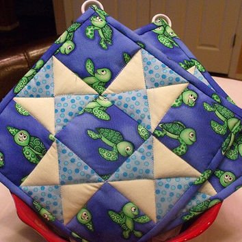 Blue and Green Quilted Potholders Set of 2 by KraftyGrannysHome