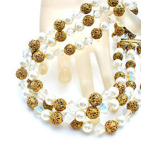 Multi Strand Pearl Crystal Filigree Bead Necklace Vintage Fashion Jewelry