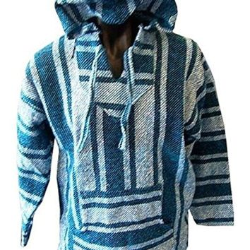 Hippie Surf Mexican Poncho - Baja Hoodie Jacket Sweater - Joe