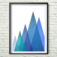 Mountain Print, Blue Triangle Wall Art Print, old paper texture, Geometric Mountains, Blue Print, Green Blue Mountain Print *173*