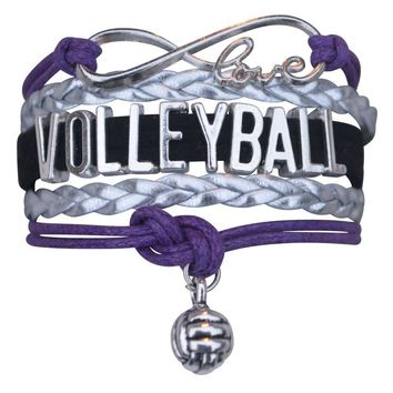 Volleyball Infinity Bracelet- Purple